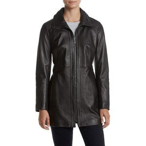 Anne Klein Stand Collar Leather Walker Jacket